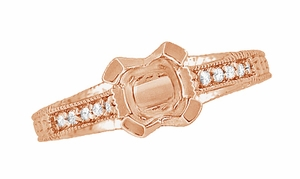 X & O Kisses 1/2 Carat Diamond Engagement Ring Setting in 14 Karat Rose Gold - Item R1153R50 - Image 4
