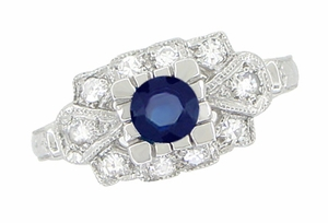 1920's Vintage Style Sapphire and Diamond Art Deco Platinum Shield Engagement Ring - Item R880PS - Image 1