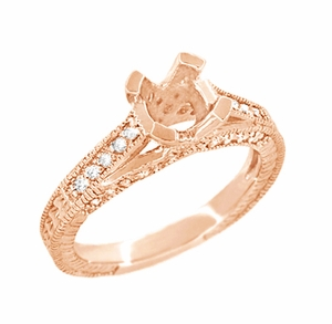 X & O Kisses 1 Carat Diamond Engagement Ring Setting in 14 Karat Rose Gold - Item R1153R1 - Image 2
