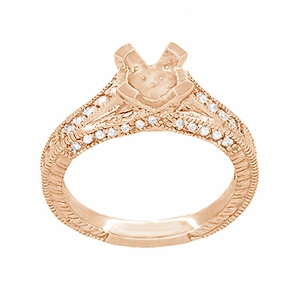 X & O Kisses 1 Carat Diamond Engagement Ring Setting in 14 Karat Rose Gold - Item R1153R1 - Image 3