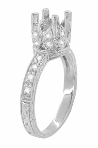 Art Deco 1 Carat Diamond Filigree Engraved Loving Butterfly Engagement Ring Setting in 18 Karat White Gold - Click to enlarge