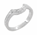 Art Deco Engraved Scrolls and Wheat Curved Wedding Band in 18 Karat White Gold