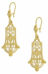 Art Deco Geometric Diamond Dangling Filigree Earrings in Sterling Silver with Yellow Gold Vermeil - Item E173YD - Image 1