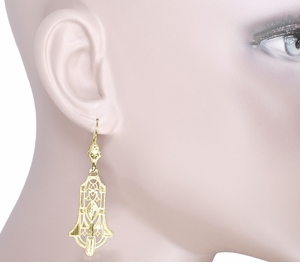 Art Deco Geometric Diamond Dangling Filigree Earrings in Sterling Silver with Yellow Gold Vermeil - Item E173YD - Image 3