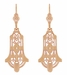 Geometric Dangling Art Deco Rose Gold Vermeil Sterling Silver Filigree Diamond Earrings