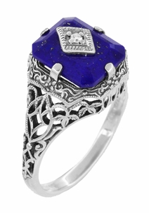 Caroline's Ring - Art Deco Filigree Diamond and Lapis Lazuli Ring in Sterling Silver - Item SSR15LA - Image 2