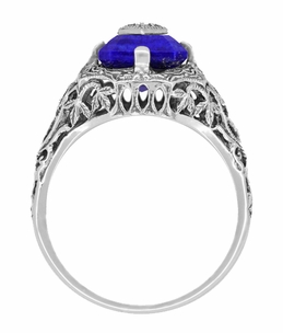 Caroline's Ring - Art Deco Filigree Diamond and Lapis Lazuli Ring in Sterling Silver - Item SSR15LA - Image 3