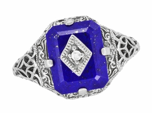 Carolines Ring - Art Deco Filigree Diamond and Lapis Lazuli Ring in Sterling Silver | Actual Caroline Forbes Daylight Ring Replica - Item SSR15LA - Image 4