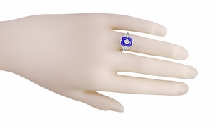Carolines Ring - Art Deco Filigree Diamond and Lapis Lazuli Ring in Sterling Silver | Actual Caroline Forbes Daylight Ring Replica - Item SSR15LA - Image 5