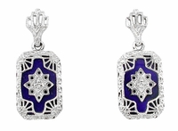 Art Deco Filigree Lapis Lazuli and Diamond Set Earrings in Sterling Silver, 1920s Vintage Engraved Design