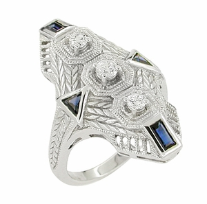 Art Deco Sapphire and Diamond Cocktail Filigree Engraved Ring in 14 Karat White Gold - Click to enlarge