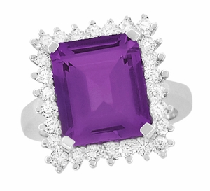 Emerald Cut Amethyst Ballerina Ring with Diamonds in 18 Karat White Gold - Click to enlarge