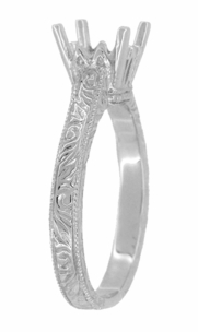 Art Deco 1.50 - 1.75 Carat Crown Filigree Scrolls Engagement Ring Setting in 18 Karat White Gold - Item R199PRW125 - Image 2