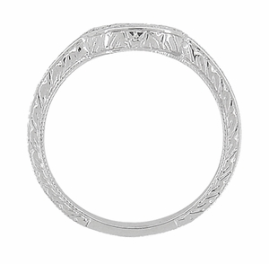 Art Deco Engraved Scrolls and Wheat Curved Wedding Band in 18 Karat White Gold - Click to enlarge
