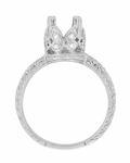 Art Deco 1 Carat Diamond Filigree Engraved Loving Butterfly Engagement Ring Setting in 18 Karat White Gold