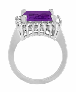 Emerald Cut Amethyst Ballerina Ring with Diamonds in 18 Karat White Gold - Item R1176WAM - Image 4