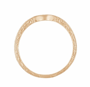 Art Deco Scrolls Engraved Contoured Wedding Band in 14 Karat Rose Gold - Click to enlarge