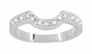Art Deco Diamond Engraved Wheat Curved Wedding Band in 18 Karat White Gold - Item WR178D - Image 1