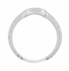 Art Deco Diamond Engraved Wheat Curved Wedding Band in 18 Karat White Gold - Click to enlarge