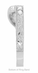 Art Deco Diamond Engraved Wheat Curved Wedding Band in 18 Karat White Gold - Item WR178D - Image 5