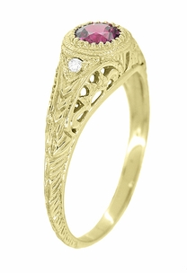 Art Deco Engraved Rhodolite Garnet and Diamond Filigree Engagement Ring in 18 Karat Yellow Gold - Item R138YG - Image 1