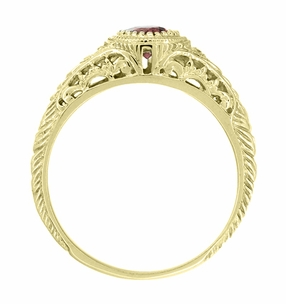 Art Deco Engraved Rhodolite Garnet and Diamond Filigree Engagement Ring in 18 Karat Yellow Gold - Item R138YG - Image 2