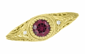 Art Deco Engraved Rhodolite Garnet and Diamond Filigree Engagement Ring in 18 Karat Yellow Gold - Click to enlarge