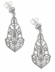 Art Deco Diamonds and Scrolls Filigree Dangling Earrings in Sterling Silver - Item SSE127 - Image 1