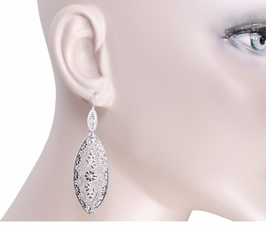Art Deco Dangling Leaf Sterling Silver Filigree Diamond Earrings - Item E171WD - Image 2