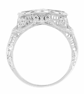 "Art Deco Filigree ""Three Stone"" Diamond Ring in 14 Karat White Gold - Item R341W - Image 1"