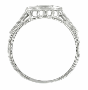 Art Deco Diamonds Filigree Engraved Wheat Curved Wedding Ring in 18 Karat White Gold - Click to enlarge