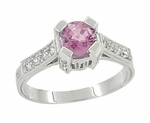 Art Deco Pink Sapphire Castle Engagement Ring in 18 Karat White Gold