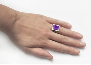 Emerald Cut Amethyst Ballerina Ring with Diamonds in 18 Karat White Gold - Item R1176WAM - Image 5