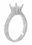 Art Deco 1.50 - 1.75 Carat Crown Filigree Scrolls Engagement Ring Setting in Palladium | Unique Antique Semi Mount Ring