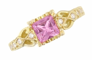 Art Deco Loving Hearts Antique Style Princess Cut Pink Sapphire Engraved Engagement Ring in 18 Karat Yellow Gold - Item R459YPS - Image 1