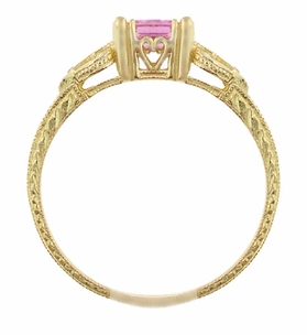 Art Deco Loving Hearts Antique Style Princess Cut Pink Sapphire Engraved Engagement Ring in 18 Karat Yellow Gold - Click to enlarge