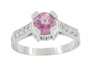 Art Deco Pink Sapphire Engraved Castle Engagement Ring in Platinum - Item R665PS - Image 1
