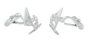 Wind Surfer Cufflinks in Sterling Silver - Click to enlarge