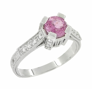 Art Deco Pink Sapphire Engraved Castle Engagement Ring in Platinum - Item R665PS - Image 2