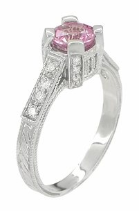 Art Deco Pink Sapphire Engraved Castle Engagement Ring in Platinum - Item R665PS - Image 3