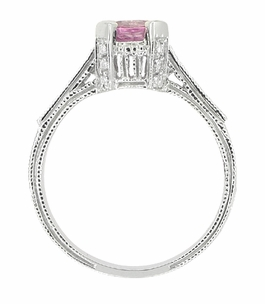 Art Deco Pink Sapphire Engraved Castle Engagement Ring in Platinum - Click to enlarge