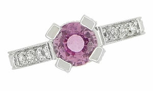 Art Deco Pink Sapphire Engraved Castle Engagement Ring in Platinum - Item R665PS - Image 6
