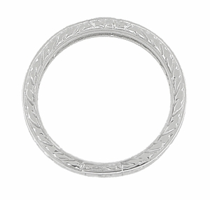 Art Deco Wedding Ring - Platinum with Wheat Engraving - Item R910P - Image 2