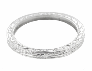 Antique Style Art Deco Engraved 2mm Wide Wheat Wedding Band Ring in 18 Karat White Gold - Item R910 - Image 1