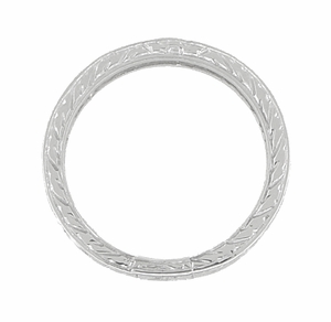 Antique Style Art Deco Engraved 2mm Wide Wheat Wedding Band Ring in 18 Karat White Gold - Item R910 - Image 2