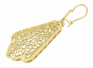 Scalloped Leaf Dangling Sterling Silver Filigree Edwardian Earrings with Yellow Gold Vermeil - Item E169Y - Image 1