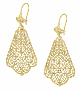 Scalloped Leaf Dangling Sterling Silver Filigree Edwardian Earrings with Yellow Gold Vermeil - Item E169Y - Image 2