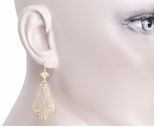 Scalloped Leaf Dangling Sterling Silver Filigree Edwardian Earrings with Yellow Gold Vermeil - Item E169Y - Image 3