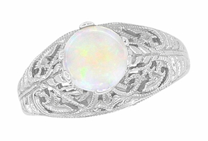Opal Filigree Ring in 14 Karat White Gold - Item R137o - Image 2