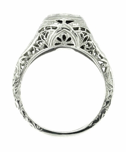 Art Deco Sapphire Ring in 14 Karat White Gold - Filigree Design - Click to enlarge